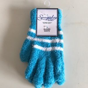 Blue and White Fuzzy Gloves